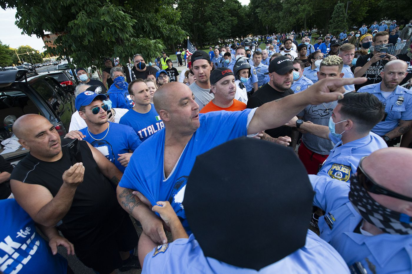 Protest observers say police allowed South Philly Columbus 'defenders' to assault them