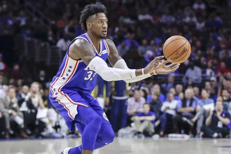 Sixers forward Robert Covington passes the basketball against the Indiana Pacers on Friday, Nov. 3.