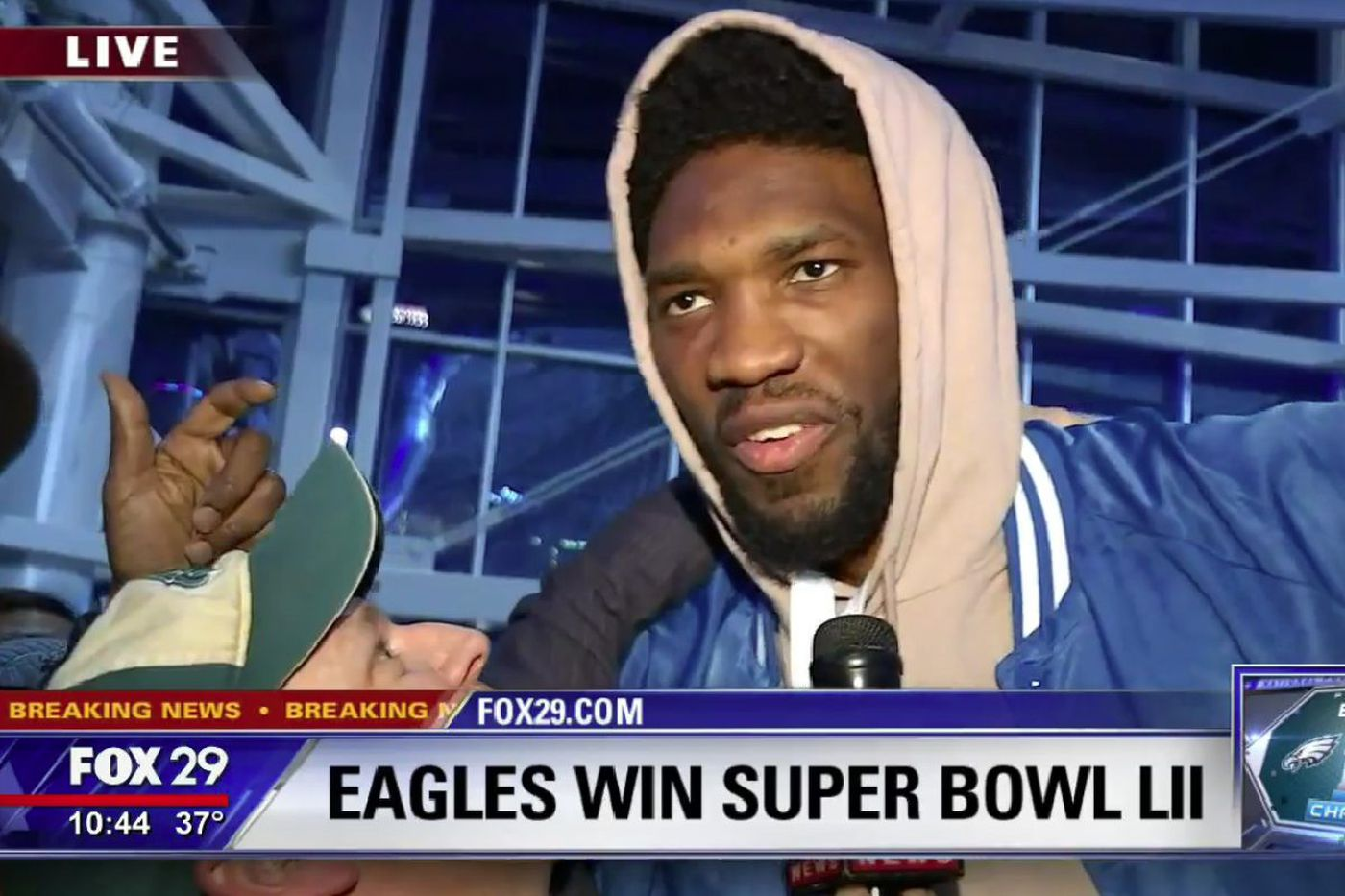 Joel Embiid crashes FOX 29's broadcast; NY Times gets winning Super Bowl team wrong