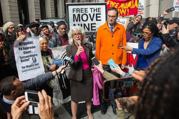 Mumia Abu-Jamal isn't there, but he's the focus inside and outside Philly courthouse