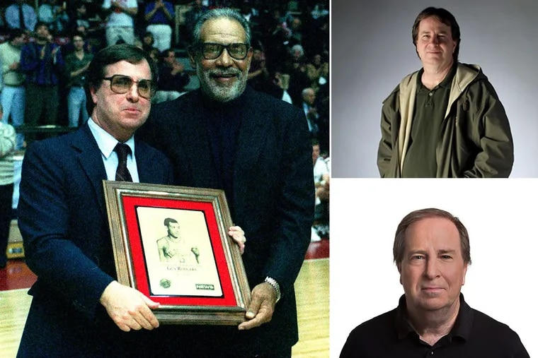 Clockwise from left: Dick Jerardi (left) presenting a Daily News All-Star Big Five award to Guy Rodgers in 1995; Jerardi in 2002; Jerardi in 2016.