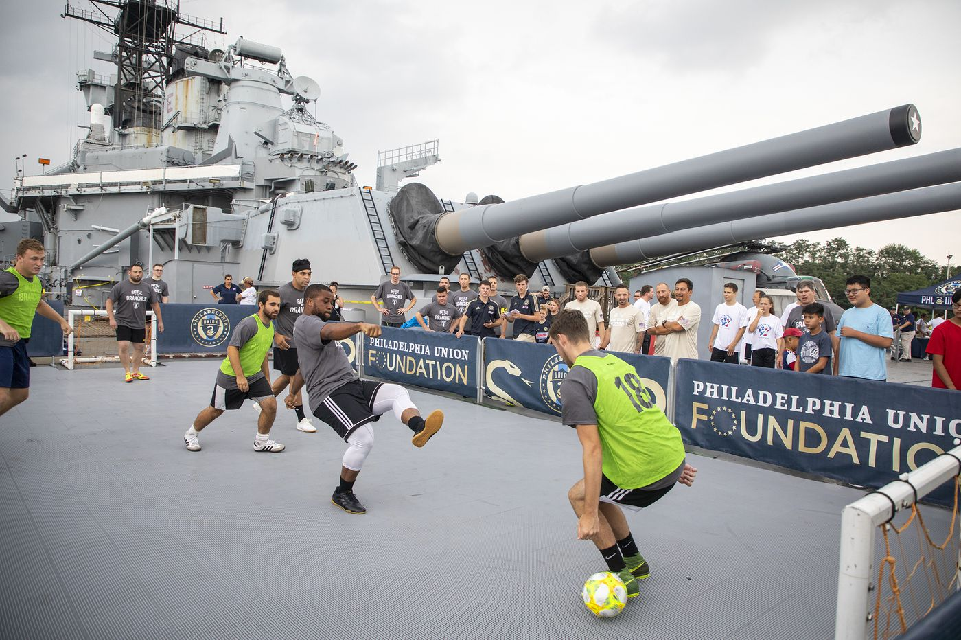 Military members square off in 'Battle of the Branches' soccer tournament on Battleship New Jersey