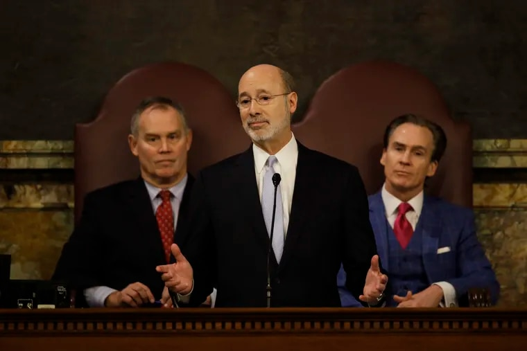 Gov. Tom Wolf delivers his budget address for the 2017-18 fiscal year to a joint session of the Pennsylvania House and Senate in Harrisburg, Pa., Tuesday, Feb. 7, 2017. Speaker of the House of Representatives, Rep. Mike Turzai, R-Allegheny, is at left, and Lt. Gov. Michael Stack, is at right.
