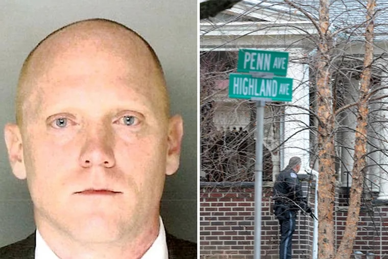 The Montgomery County District Attorney's Office released a new photo of Bradley William Stone (left), the suspected gunman who left six people dead in three Montgomery County shootings this morning. A police officer (right) stands one-half block away from a rowhouse on the 100 block of Penn Avenue.