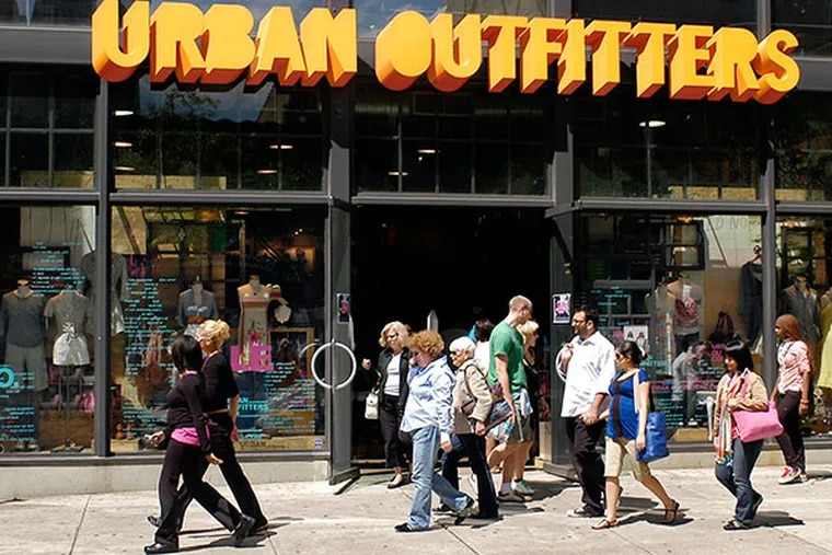 Exterior of the Urban Outfitters retail store in the 1600 block of Walnut Street. (Tom Gralish / Inquirer)