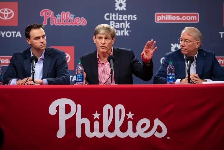From left to right: Phillies general manager Matt Klentak, managing partner John MIddleton and president Andy MacPhail.