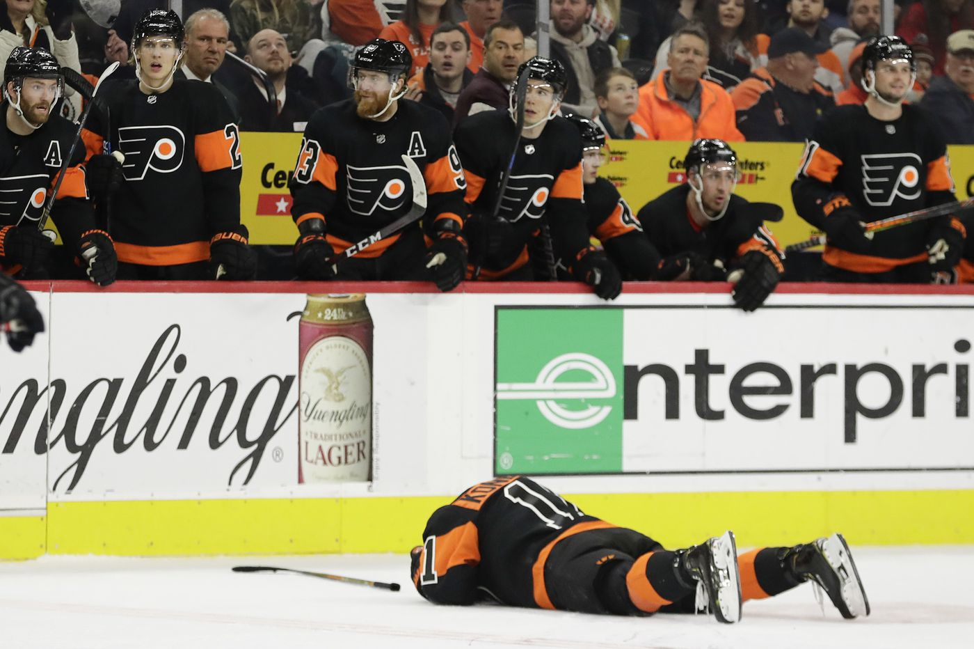 Flyers winger Travis Konecny out indefinitely with a concussion; Phil Myers also injured