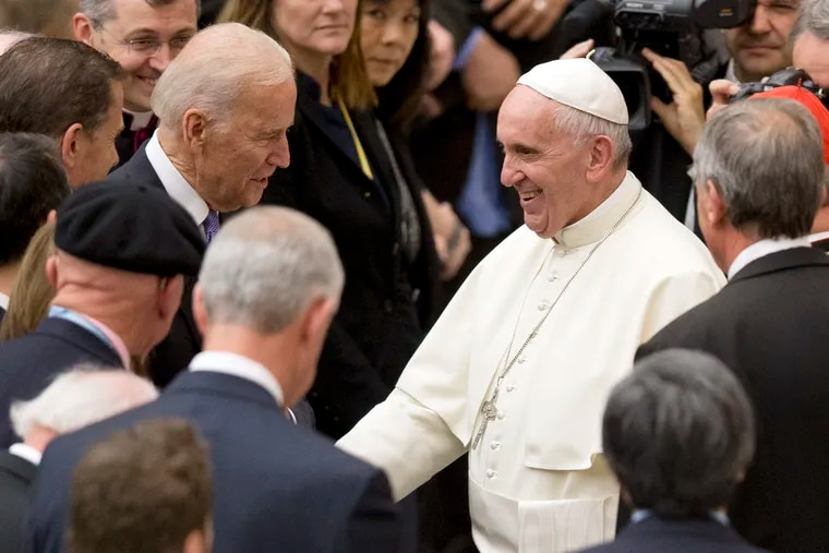 Vice President Joe Biden shakes hands with Pope Francis during a congress on the progress of regenerative medicine held at the Vatican on April 29, 2016. In October, a South Carolina reverend refused the former vice president communion due to his views on abortion.