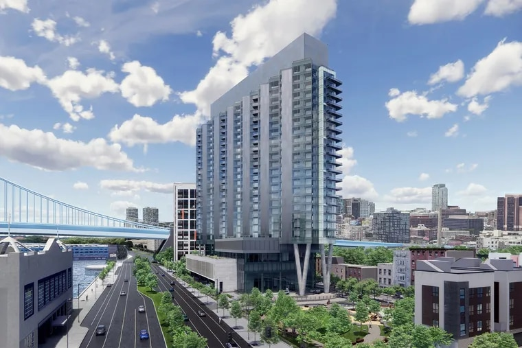 Artist's rendering of the Durst Organization's first Philadelphia project, which is slated to rise north of the Benjamin Franklin Bridge near the Delaware River waterfront, as seen looking south along Christopher Columbus Boulevard.