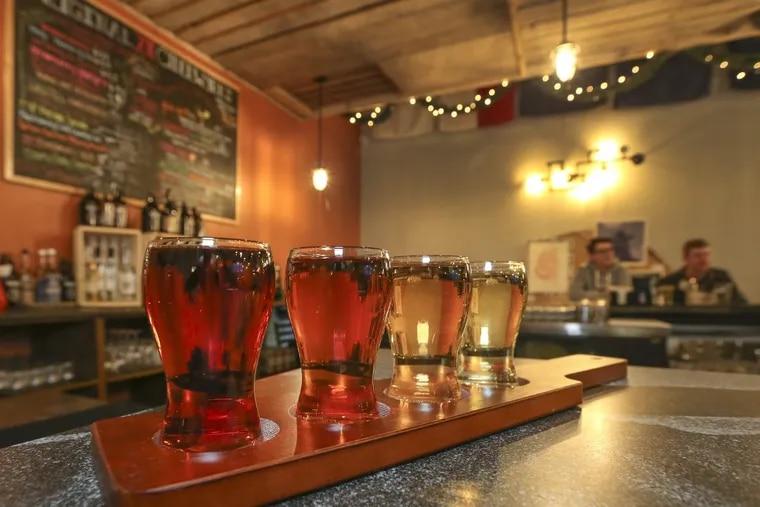 At Original 13 Ciderworks, a flight of Sir Charles Hard Apple Ciders.