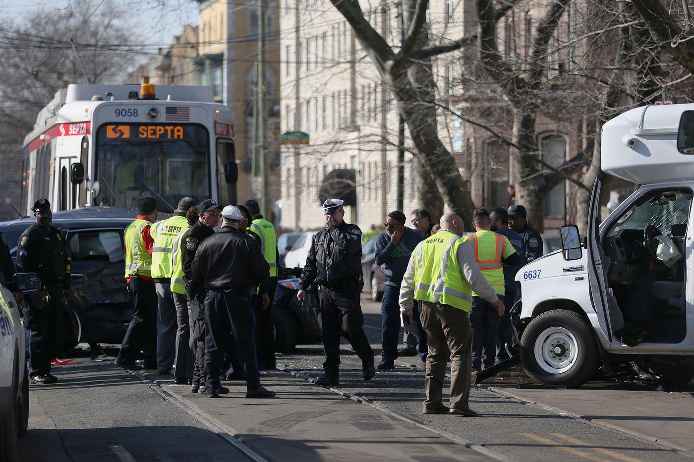 Crash involving SUV, SEPTA paratransit van, and trolley leaves 30 hurt in West Philadelphia
