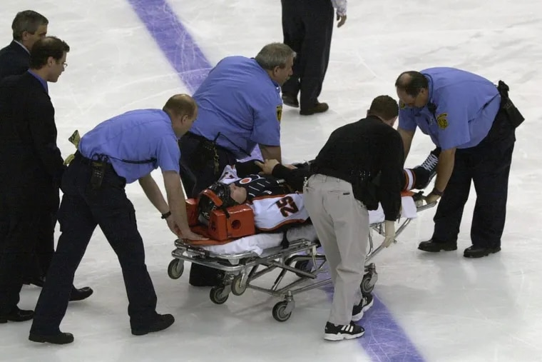 Medics had to carry Keith Primeau off the ice on a stretcher after a hard hit during a 2000 Stanley Cup playoff game. Primeau, who retired from the NHL in 2006 after his fourth documented concussion, suffers from lightheadedness, anger and other symptoms common in athletes who have suffered brain trauma.