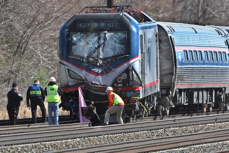 Amtrak Train 89's crash into a maintenance vehicle happened in Chester, officials said, but the train continued moving for another mile before coming to a stop in Trainer. There were 341 passengers and seven crew members on board.