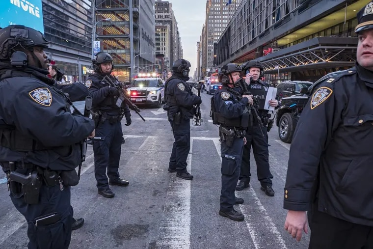 Members of the NYPD Strategic Response Group responded at the scene where suspected terrorist Akied Ullah, 27, detonated a pipe bomb in a subway passage between Times Square and Port Authority Bus Terminal on 42nd Street between 7th and 8th Avenue in Manhattan on Monday, December 11, 2017.