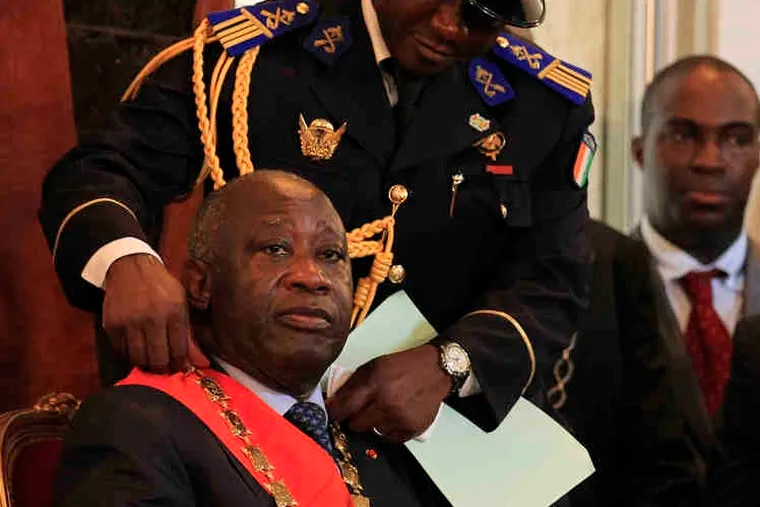 Presidential rivals in Ivory Coast Laurent Gbagbo, the incumbent, left, with the ceremonial chain he wore at his swearing-in. At right, opposition leader Alassane Ouattara during his swearing-in ceremony.