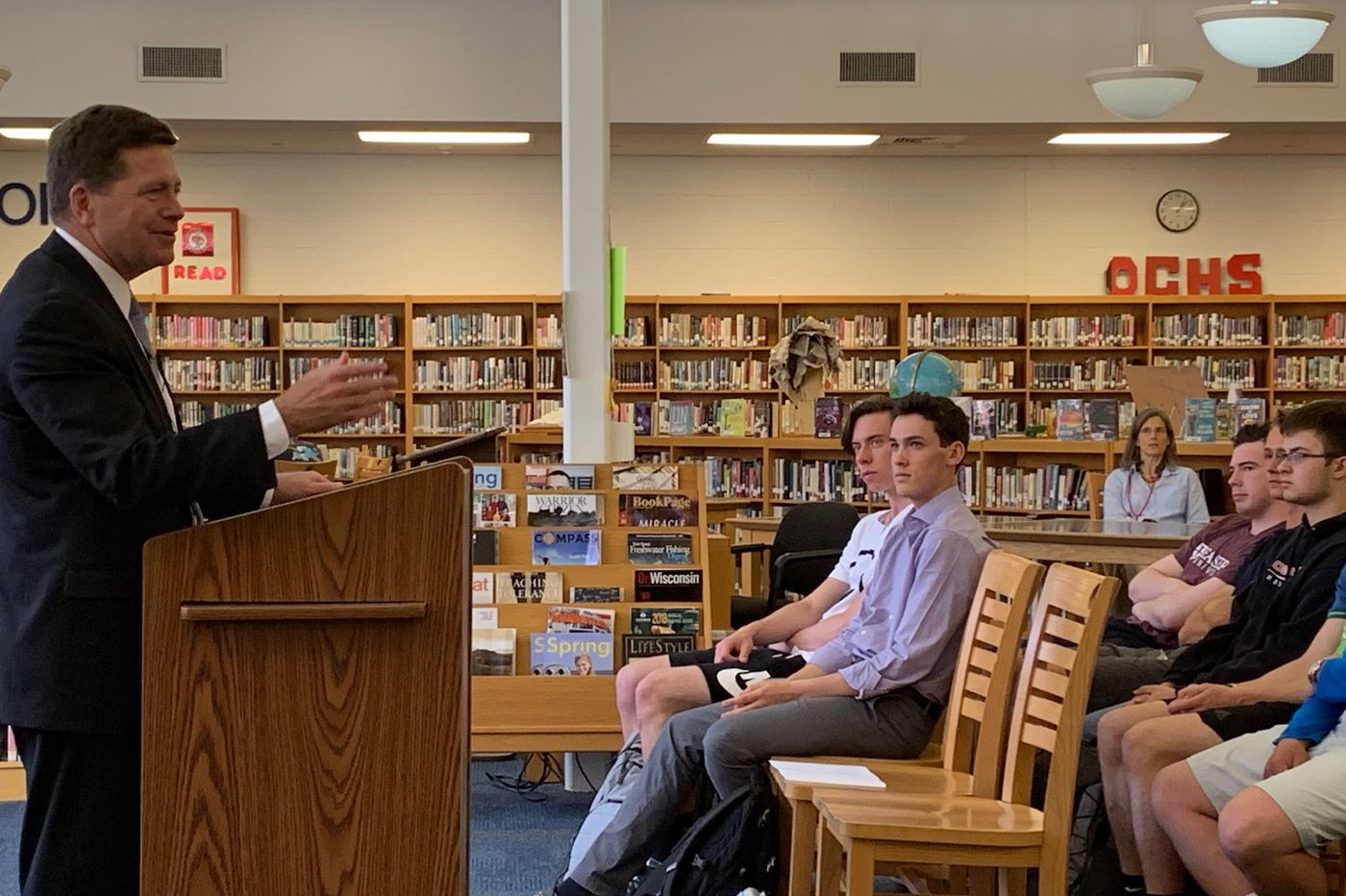 SEC Chief hangs out with students at N.J. shore high school, discussing fraud and the importance of investing early