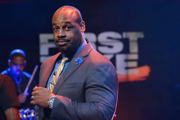"""Former Eagles quarterback Donovan McNabb on the set of ESPN's """"First Take."""" McNabb has been fired by the network after allegations of sexual harassment surfaced in a lawsuit filed by a former colleague at the NFL Network."""