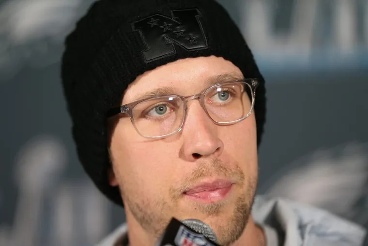 Philadelphia Eagle Nick Foles shown here during a Super Bowl press conference at the Super Bowl LII Media Center, in the Mall of America, in Bloomington, Minn.