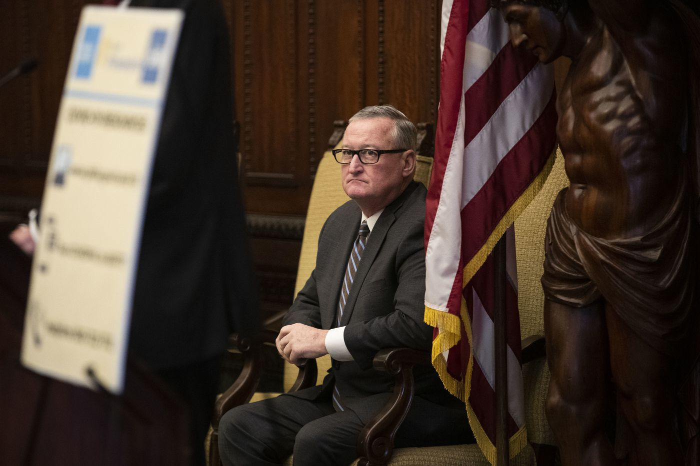 Mayor of Philadelphia Jim Kenney listens during a news conference about the coronavirus at City Hall on Wednesday. Confirmed cases of the coronavirus are escalating across the country, including presumed positives in both Pennsylvania and New Jersey.