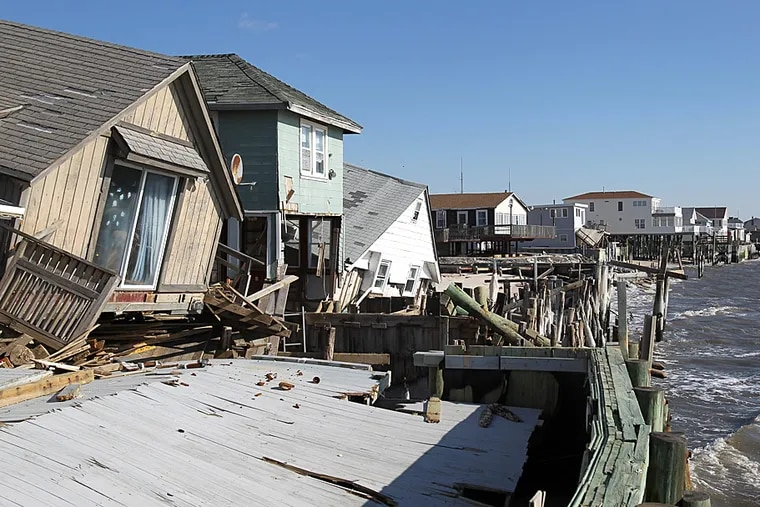 In low-lying areas of Delaware Bay's shore, erosion and storm damage are easy to see.