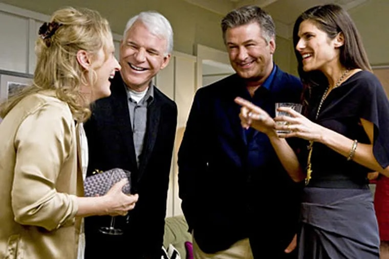 Meryl Streep (left) finds herself in a romantic triangle with Steve Martin (second from left) and Alec Baldwin, as her ex. Lake Bell also stars.