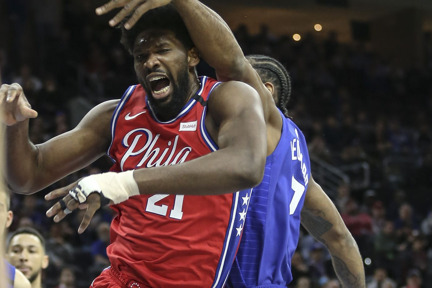 Joel Embiid, Raul Neto and Glenn Robinson III participate in Sixers practice Monday