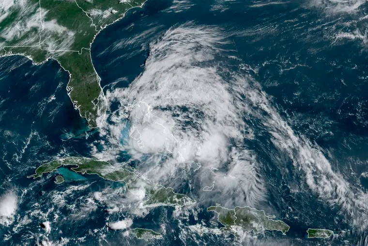 A GOES-16 GeoColor satellite image taken Saturday morning and provided by the NOAA, shows Hurricane Isaias over the Bahamas.
