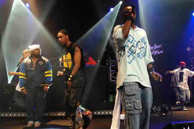 The Wu-Tang Clan, shown in 2007, are absent RZA, but Raekwon, Ghostface, Method Man, and GZA remain.
