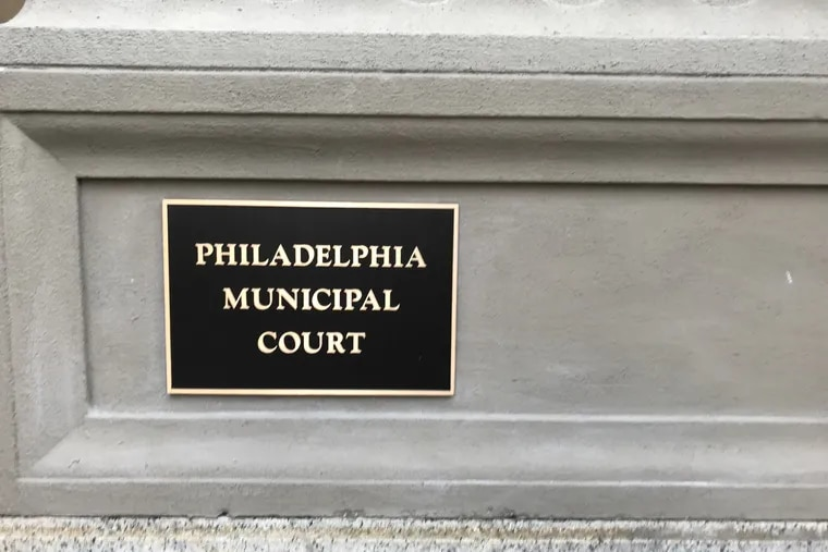 The sign for Philadelphia Municipal Court across the street from City Hall.