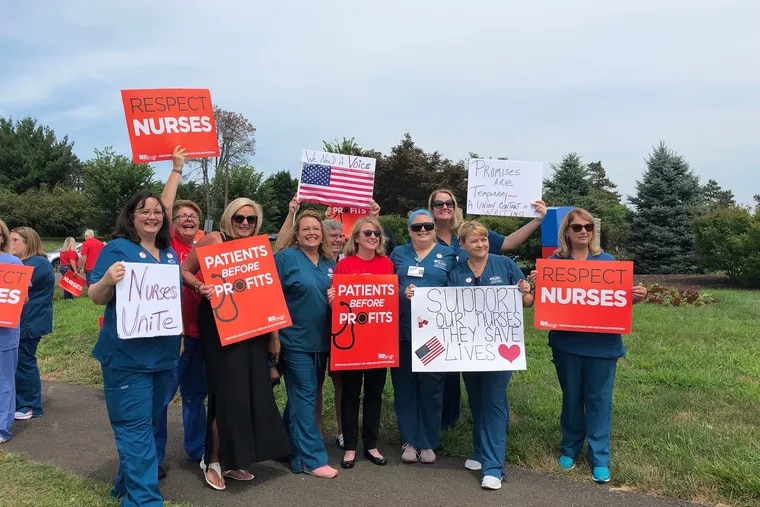 Nurses at St. Mary Medical Center in Langhorne, Pa., at a press conference in August 2019. Nearly 800 nurses recently voted to join union PASNAP.