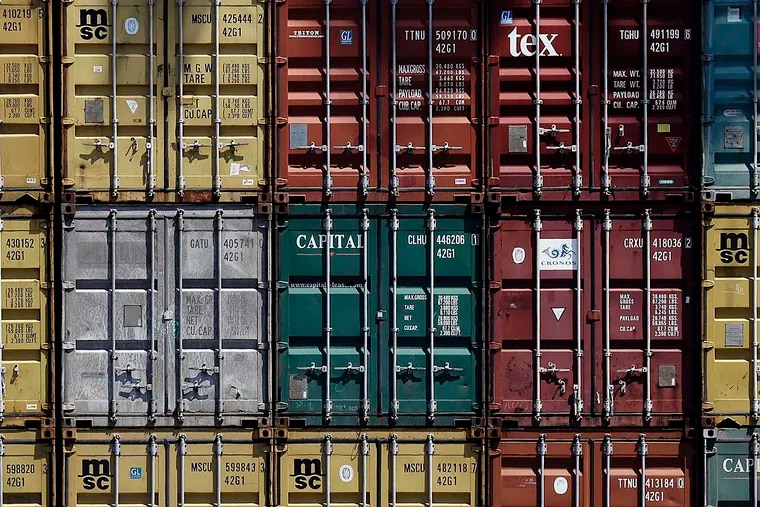 Shipping containers are stacked at the Packer Avenue Marine Terminal in Philadelphia. A new report says the region lags in export activity.