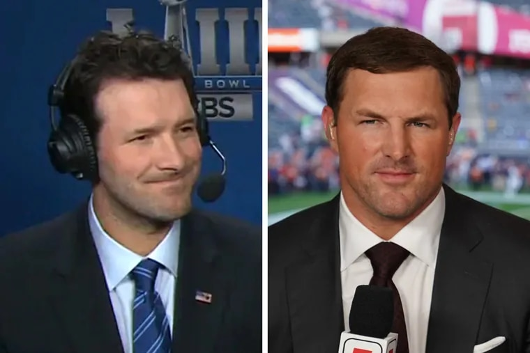"""While former Cowboys quarterback Tony Romo (left) has earned high marks on CBS Sports, his former teammate Jason Witten (right) has struggled at times during his first year on """"Monday Night Football."""""""