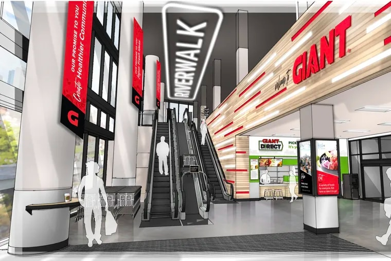 An illustration of the lobby for the 65,000-square-foot flagship store of The GIANT Company in Philadelphia. The location at 23rd and Arch Streets is scheduled to open in March.
