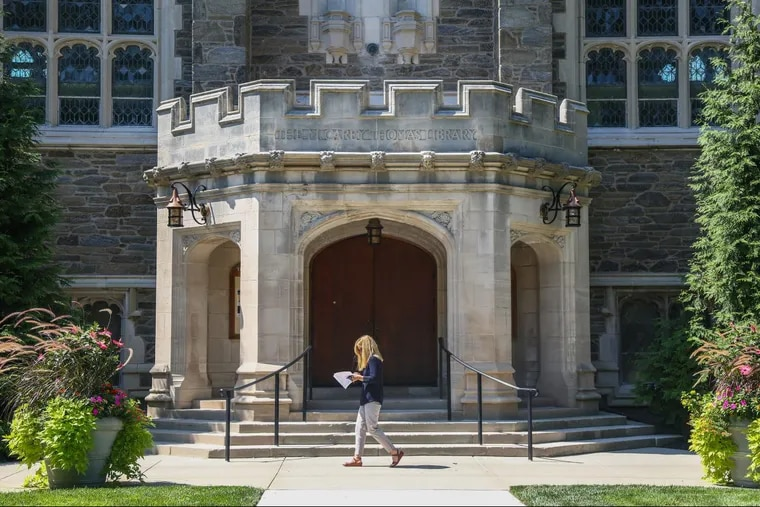 Bryn Mawr College, whose admissions applications ask prospective students to report any criminal records.