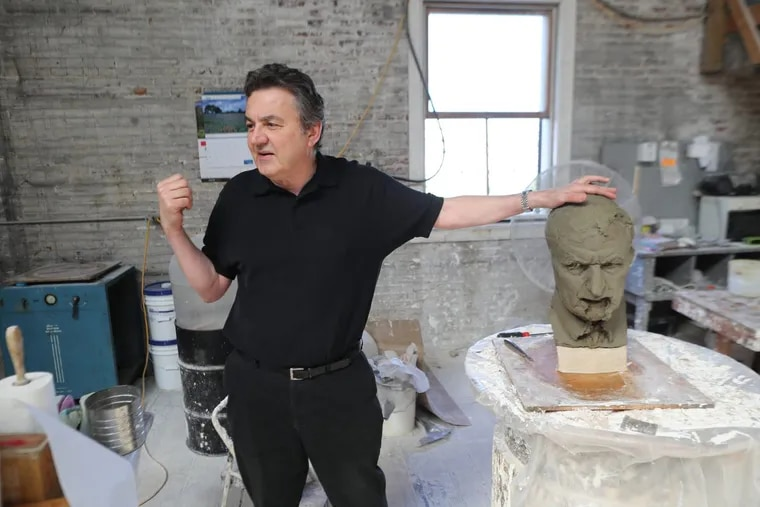 Zenos Frudakis, at work earlier this year on a statue of famed ACLU attorney Clarence Darrow, commissioned for a county courthouse in Tennessee.