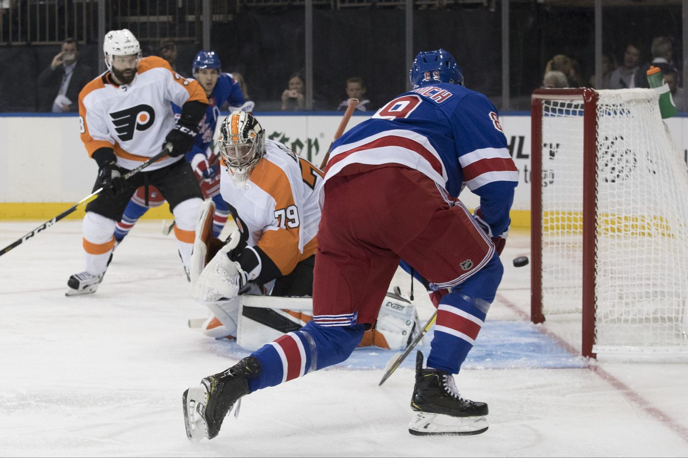 Oskar Lindblom, Carter Hart help Flyers whip Rangers, 6-4