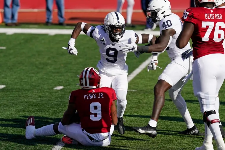 Penn State's Joey Porter Jr. (9) celebrates a sack of Indiana quarterback Michael Penix on Oct. 24.