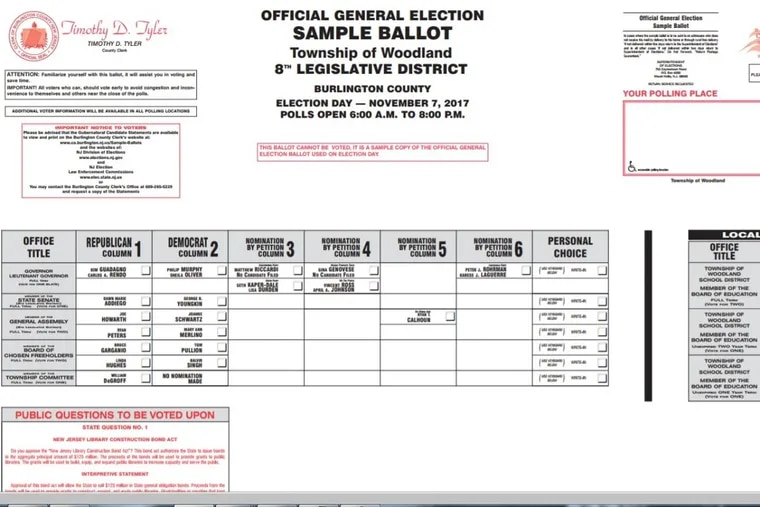 A screen shot of a 2017 sample ballot sent to some Burlington County, N.J., voters.