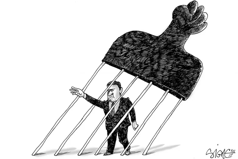 Earlier this year, as part of a public art project, a giant sculpture of an afro pick was placed next to the controversial Frank Rizzo statue. Signe Wilkinson captured the moment with this cartoon.