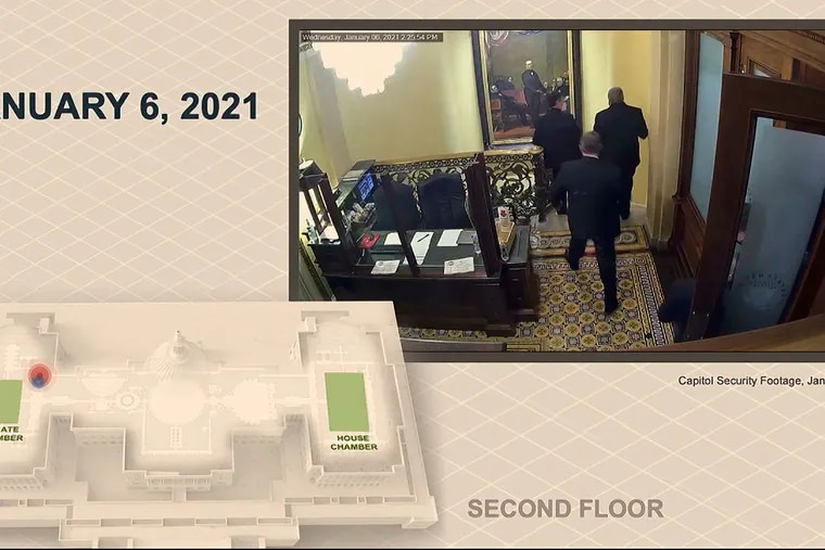 In this image, a security video shows senators leaving the Senate floor as rioters breach the U.S. Capitol. The video was played during the second impeachment trial of former President Donald Trump in the Senate in Washington on Wednesday.