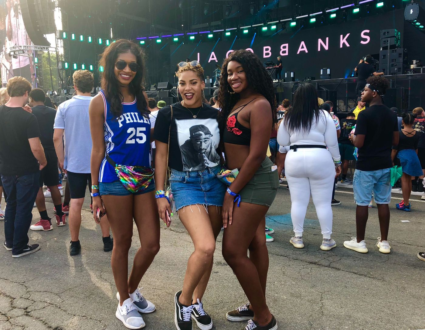 Janine Simmons, Judgette Moen, Evalyn Hart (left to right). Hart and Simmons are from Philly, Moen is visiting for MIA. The trio came for Travis Scott and Lizzo but Jacob Banks' act was a pleasant surprise.