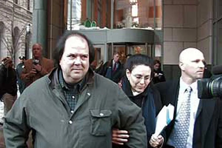 The parents of Jocelyn Kirsch leave the Criminal Justice Center with their daughter's lawyer James Funt.