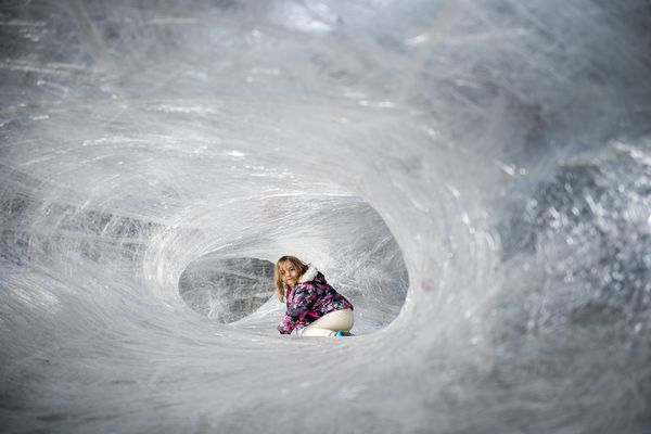 'Like you're in an ice cave': Inside the tape cocoon, the Navy Yard's newest art installation