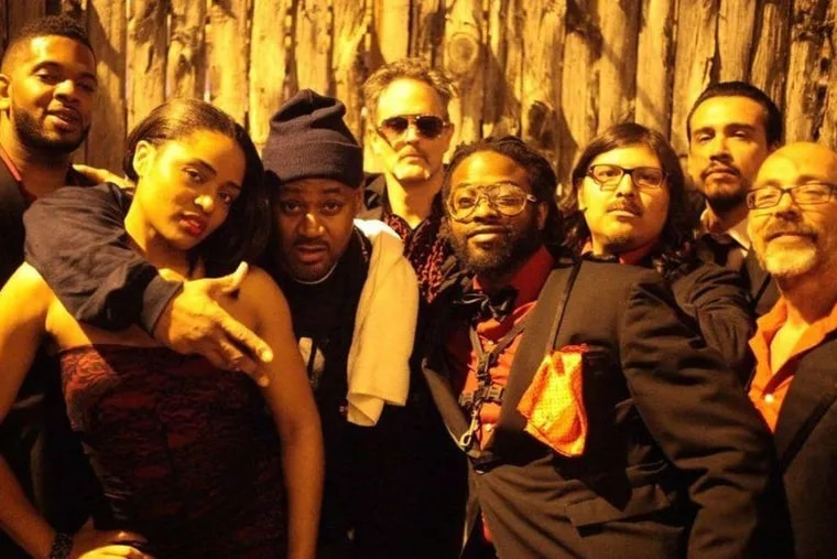 Ghostface Killah (third from left), next to Adrian Younge and his band, Venice Dawn, after their first performance together.