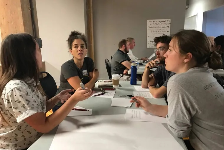 A Kensington Voice meet and greet in October 2018 at Impact Services.The event brought together community partners to talk about ideas for news coverage of the area. Center is Rebecca Fabiano with Fab Youth Philly, who emphasized need for youth involvement, etc.
