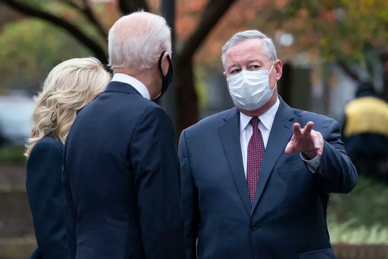 Philadelphia Mayor Jim Kenney (right) with then-President-elect Joe Biden and his wife, Jill Biden, after they placed a wreath at the Philadelphia Korean War Memorial at Penn's Landing on Nov. 11, 2020.