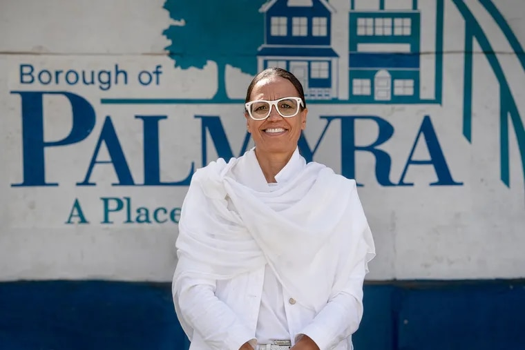Valerie Still poses for a photo in Palmyra, N.J., on Tuesday, Sept. 21, 2021. She is running for Palmyra Borough Council on Nov. 2. As a descendant of the William Still family, she will make appearances in Philadelphia on Oct. 7, the 200th anniversary of the birth of William Still, who worked with Harriet Tubman and others to help formerly enslaved Black people escape to freedom.