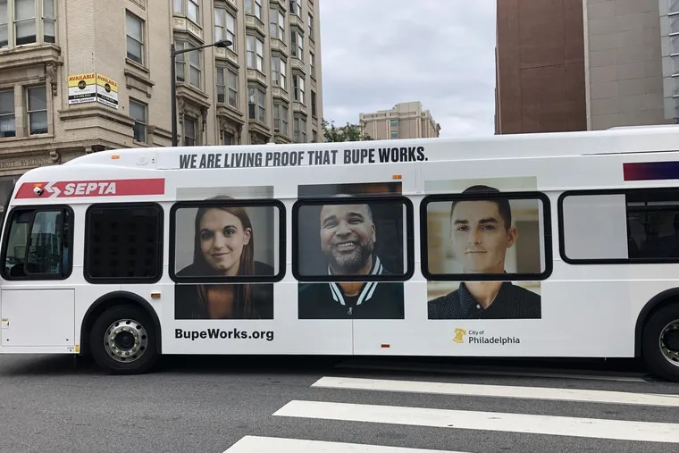 A SEPTA bus on Broad Street with the Bupe Works campaign to increase awareness and reduce stigma about medications for addiction treatment.