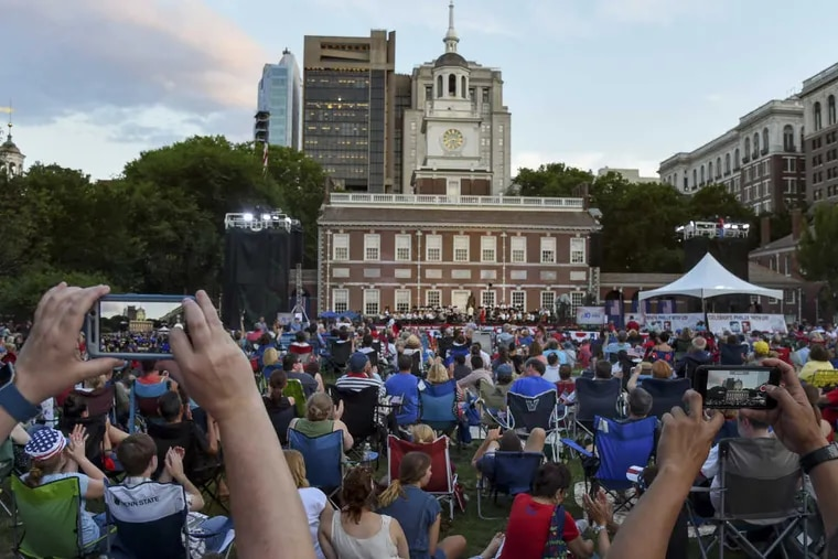 The Philly POPS performs at its annual July 3rd concert at Independence Hall on Monday.