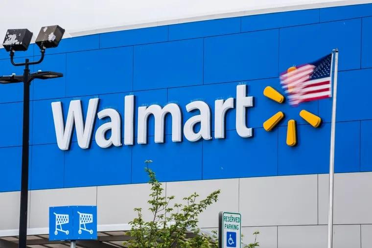 An American flag flies outside a Walmart store in Secaucus, N.J.